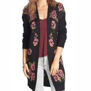 FRENCHI open cardigan rose floral black Small